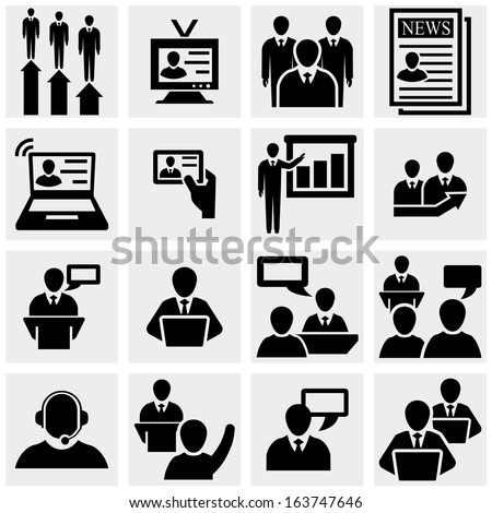 Businessman  vector icons set on gray.  - stock vector