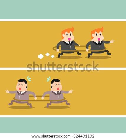 Businessman vector wining of teamwork and same target - stock vector