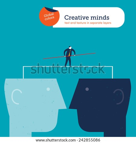 Businessman walking a tightrope between two heads. Vector illustration Eps10 file. Global colors. Text and Texture in separate layers. - stock vector