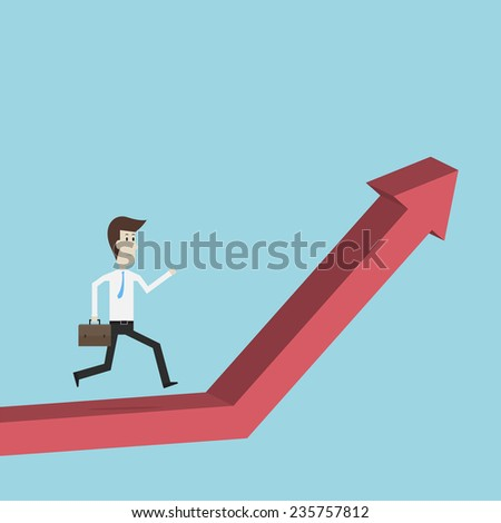 Businessman walking to the top of the Charts - Vector
