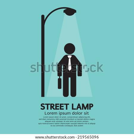 Businessman Walking Under Street Lamp Vector Illustration - stock vector