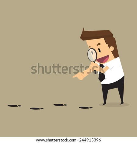 Businessman walking with magnifying glass, looking for foot mark track on the ground.vector - stock vector