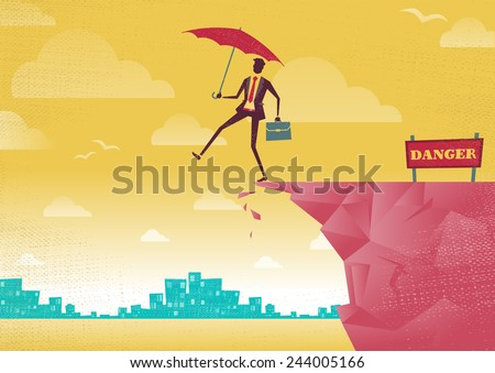 Businessman walks off a cliff. Great illustration of Retro styled Businessman walking off the cliffs or maybe its a leap of faith. - stock vector
