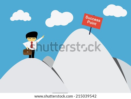 Businessman want to go success point - stock vector