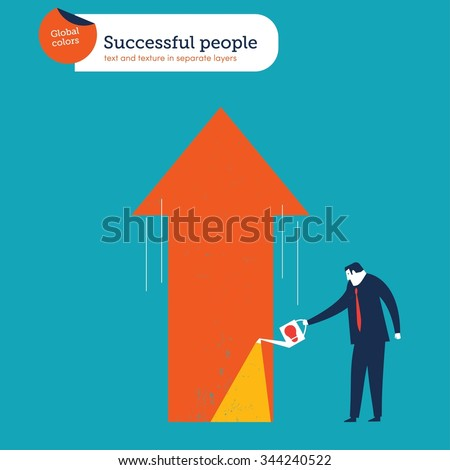Businessman watering a growing arrow with good ideas. Vector illustration Eps10 file. Global colors. Text and Texture in separate layers. - stock vector