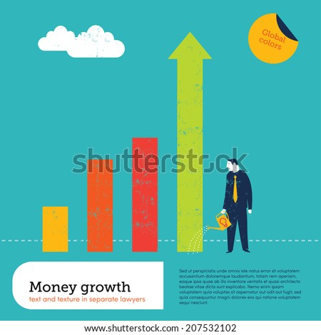 Businessman watering charts. Vector illustration Eps10 file. Global colors. Text and Texture in separate layers.  - stock vector