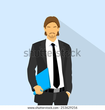 Businessman wear elegant fashion suit hold blue folder, business man flat icon vector illustration - stock vector