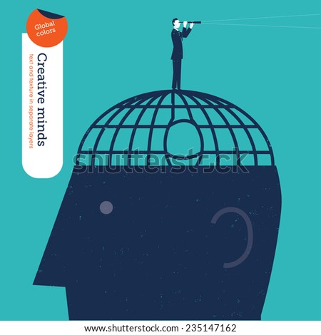 Businessman who escaped a brain jail looks through a spyglass. Vector illustration Eps10 file. Global colors. Text and Texture in separate layers. - stock vector