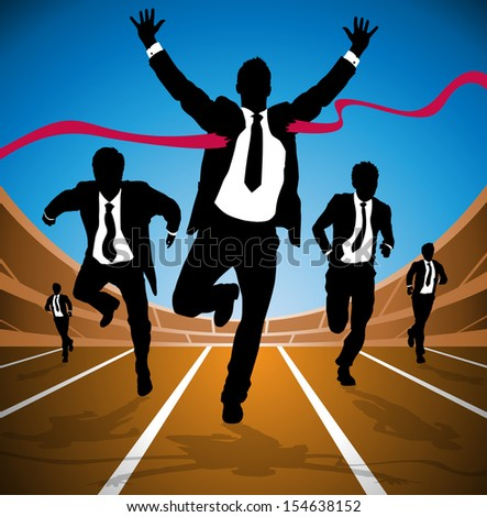 Businessman wins the Race  - stock vector