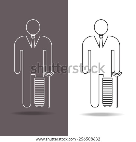 businessman with a  broken leg on crutch icon in thin line style, vector EPS 10. - stock vector