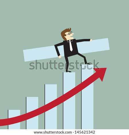 Businessman with a growth bar chart - stock vector