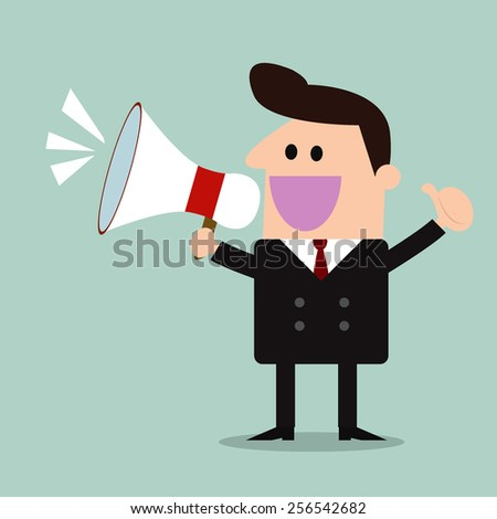 businessman with a megaphone,promotion marketing concept  - stock vector