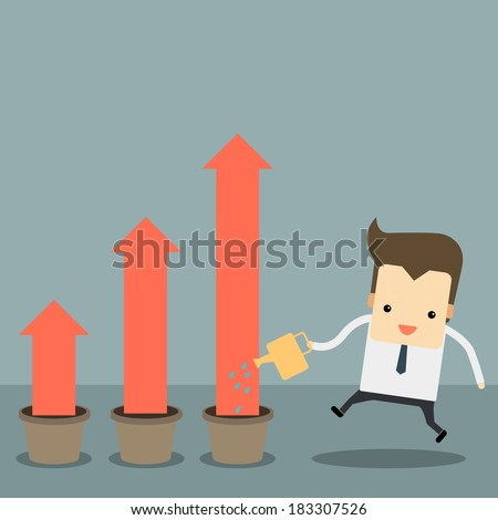 businessman with a pink chart going up - stock vector