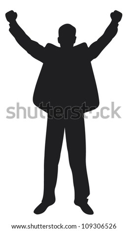 businessman with arms up celebrating (successful businessman, happy businessman, business man silhouette with his arms up enjoying his success) - stock vector