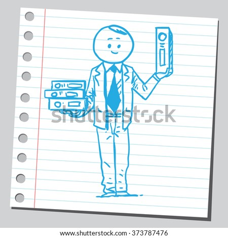 Businessman with binders - stock vector