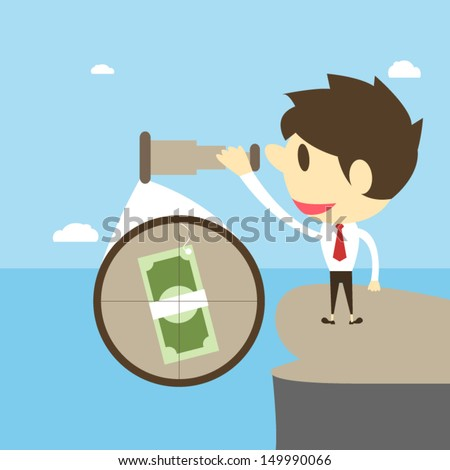 Businessman with binoculars looking for money,Vector cartoon business - stock vector