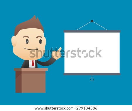 Businessman with blank board - vector illustration, EPS10 - stock vector