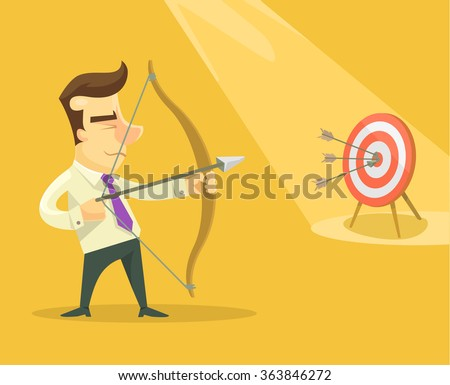 Businessman with bow and arrow. Vector flat illustration - stock vector