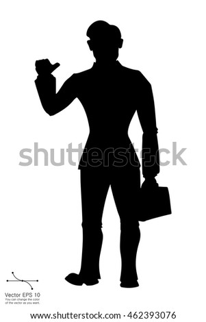 businessman with briefcase black web icon. vector illustration