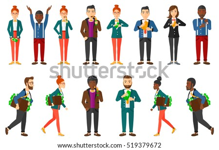 Businessman with briefcase full of money committing economic crime. Businessman stealing money. Bribery and economic crime concept. Set of vector flat design illustrations isolated on white background