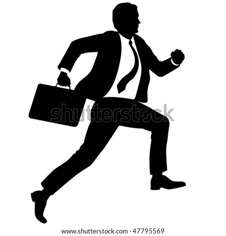 Businessman with briefcase run upstairs - stock vector
