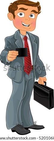 Businessman with business card - stock vector
