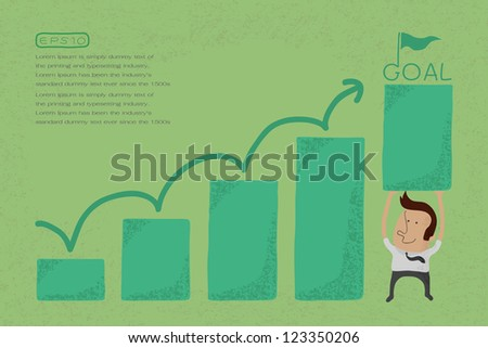 Businessman with business growing graph , eps10 vector format - stock vector