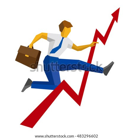 Businessman with case jump over decrease in chart. Isolated on white background. Business obstacle concept - profit recession and grow, overcome difficulties. Flat vector clip art.