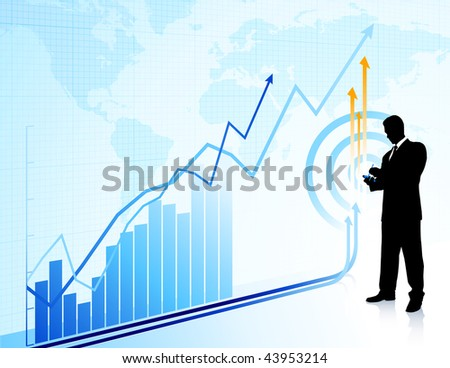 Businessman with chart and world map Original Vector Illustration Businessmen Concept - stock vector