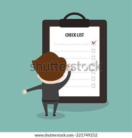 Businessman with check list. - stock vector