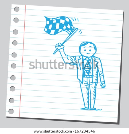 Businessman with checkered flag - stock vector
