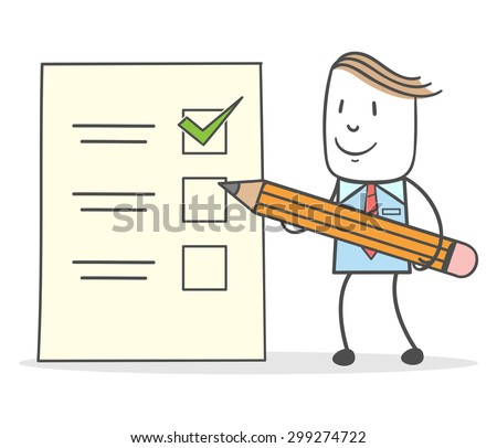 Businessman with checklist and pencil holding - stock vector