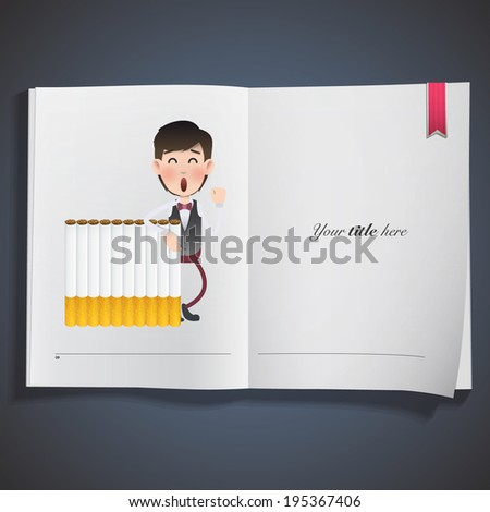 businessman with cigarette printed on book over blue background - stock vector