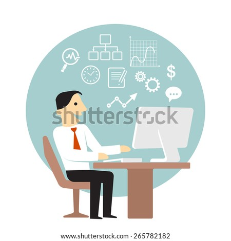 Businessman with computer doing business data analysis - stock vector