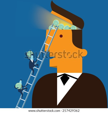 Businessman with concept of thinking new ideas - stock vector
