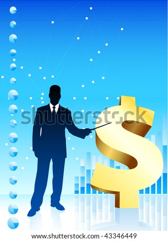 Businessman with Currency Symbol Original Vector Illustration - stock vector