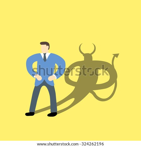Businessman with devil or demon character in his shadow on background - stock vector