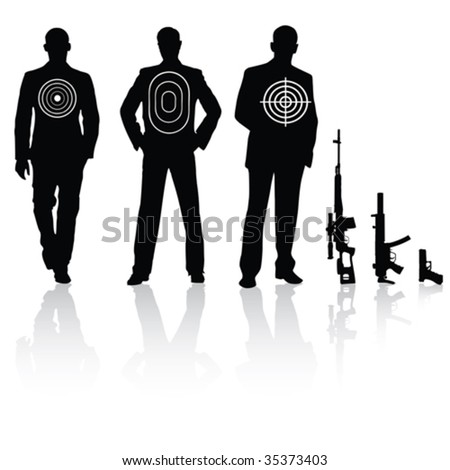 Businessman with different target sniper rifle - stock vector