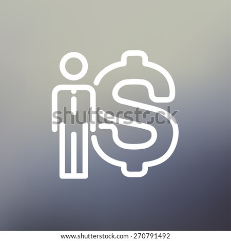 Businessman with dollar sign icon thin line for web and mobile, modern minimalistic flat design. Vector white icon on gradient mesh background. - stock vector