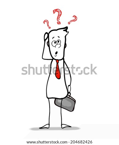 businessman with doubts  - stock vector