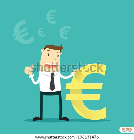 Businessman with Euro sign - stock vector