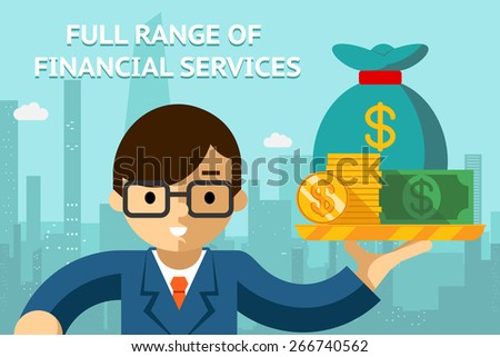 Businessman with full range of financial services on tray. Management and success idea. Vector illustration - stock vector