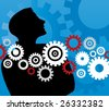 businessman with gears - stock vector