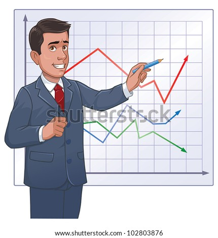 Businessman with graph - stock vector