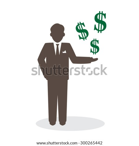 Businessman with growth dollar in hand.
