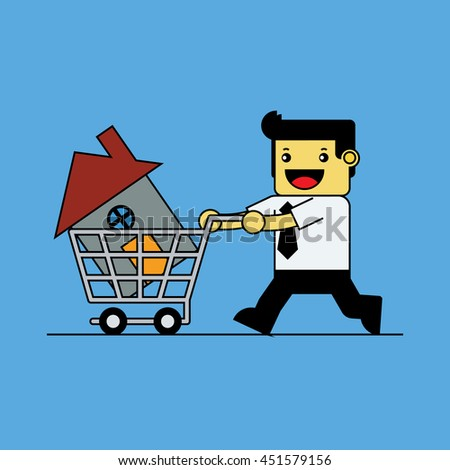 Businessman with house in shopping cart.