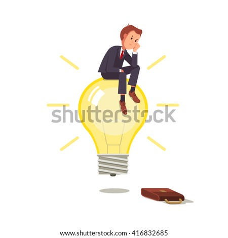 Businessman With Ideas Sitting On A Light Bulb And Thinks The Idea Business