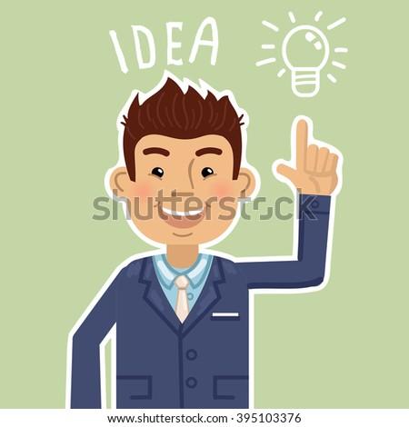 Businessman with light bulb over his head - stock vector