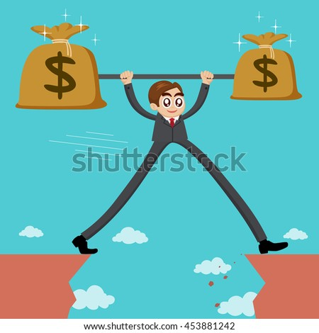 Businessman with long legs with money cross the cliff, vector illustration cartoon