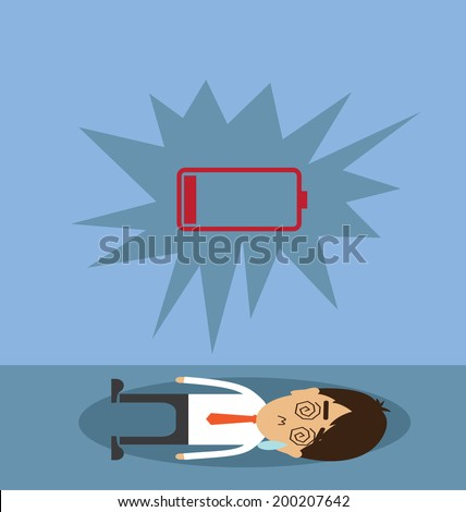 Businessman with low battery - stock vector